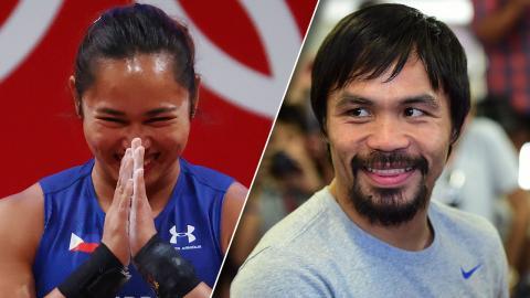 """""""ปาเกียว"""" ร่วมยินดี จอมพลังสาวซิวทองแรกโอลิมปิกให้กับฟิลิปปินส์"""