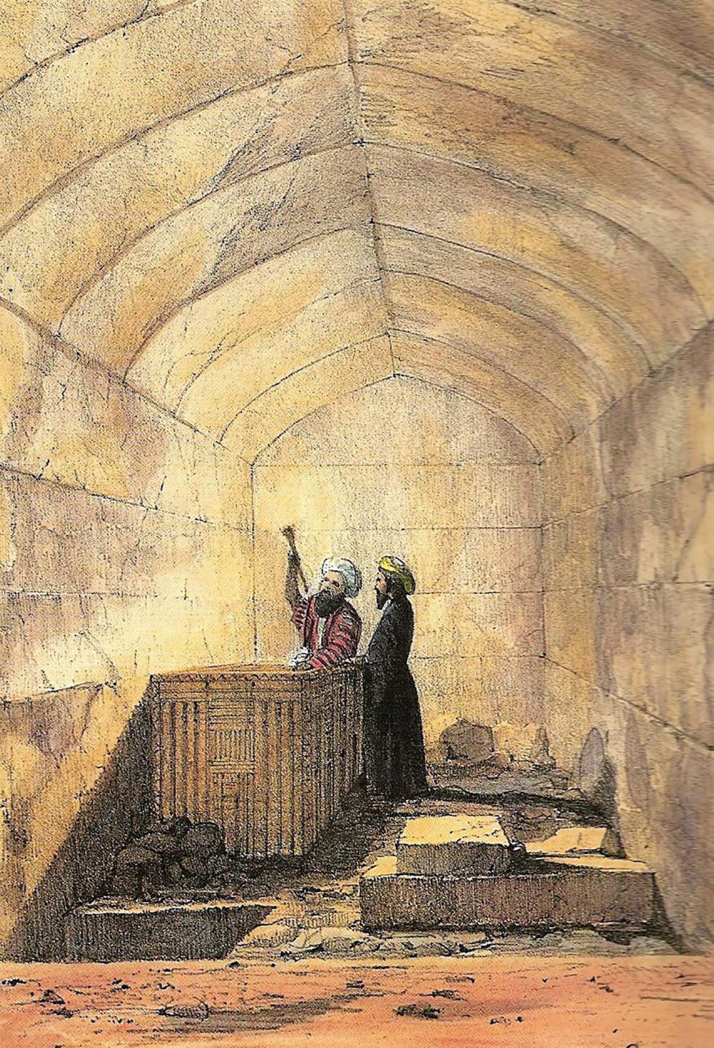 ห้องฝังศพของฟาโรห์เมนคาอูเร ปัจจุบันโลงศพในภาพจมอยู่ใต้ก้นทะเลพร้อมเรือเบียทริซ.