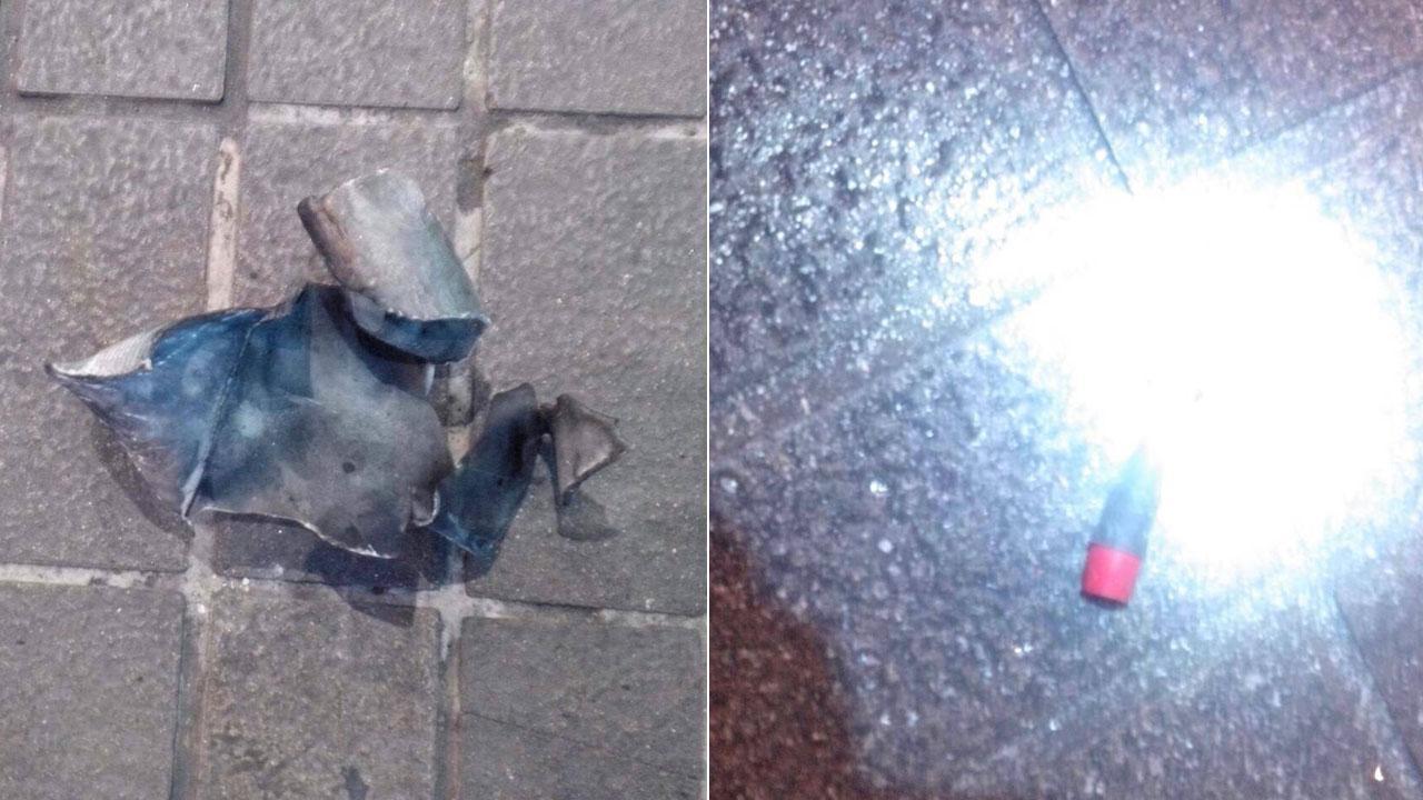 ชิ้นส่วนระเบิดที่ถูกวางไว้ด้านหลังหม้อแปลงไฟฟ้า