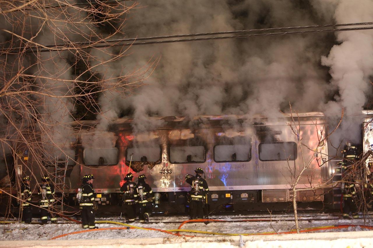 สภาพความเสียหายของโบกี้รถไฟที่ถูกไฟไหม้