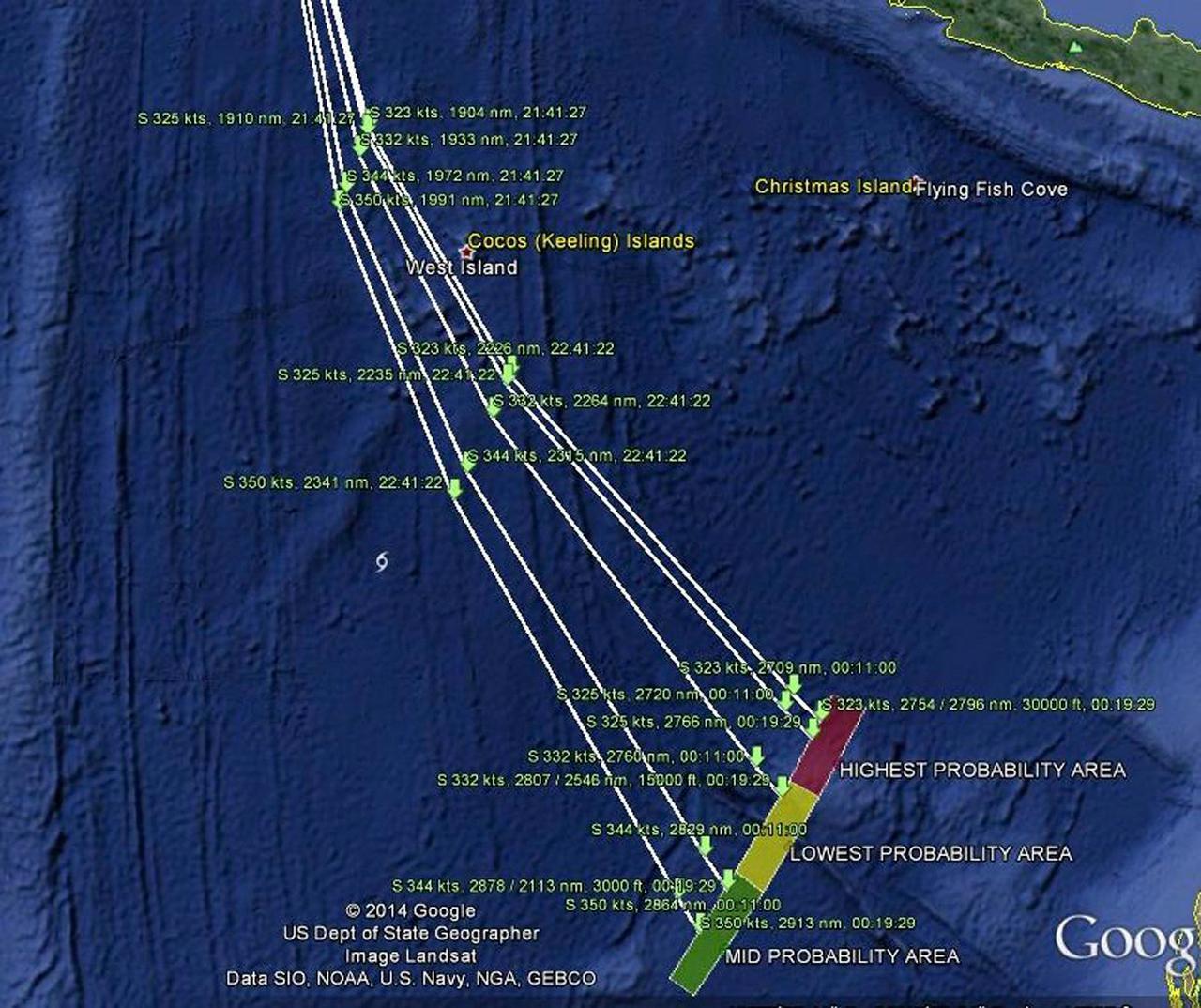 จุดสุดท้ายที่เรดาร์ตรวจจับเอ็มเอช 370 ได้คือทางตอนใต้ของมหาสมุทรอินเดีย