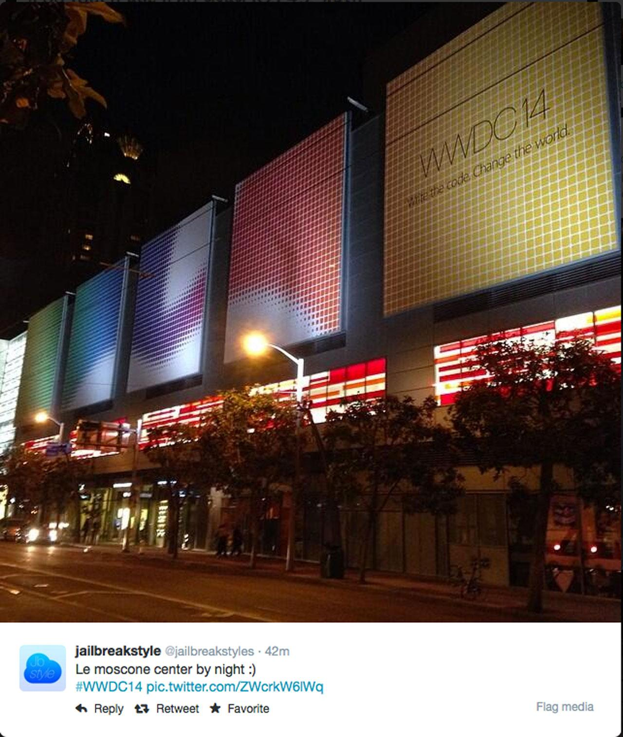 ซานฟรานซิสโก หน้าอาคารที่จัดงาน WWDC 2014 ยามค่ำคืน