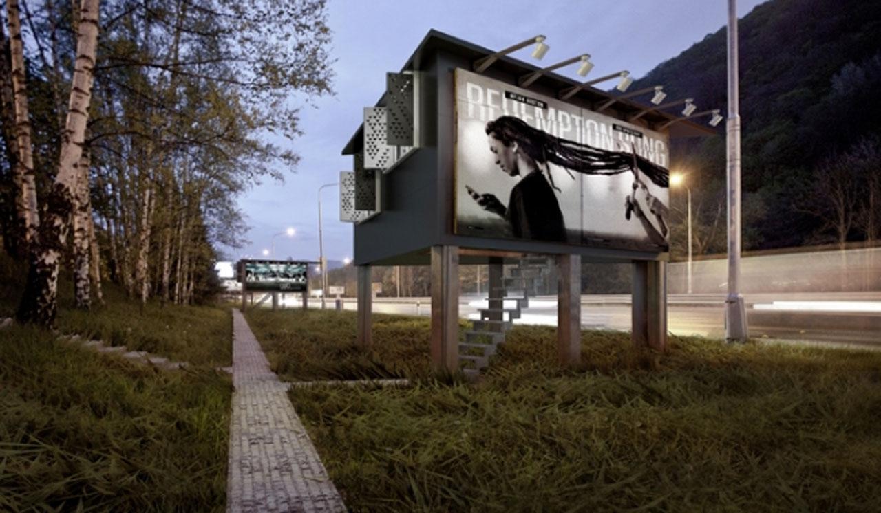 ออกแบบป้ายโฆษณา ให้สามารถเป็นบ้านพักอาศัยได้ด้วย