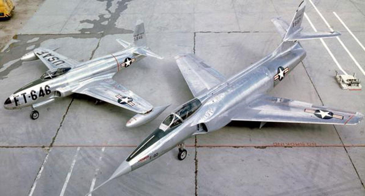 พี-80 ชู้ตติ้งสตาร์ (ซ้าย) เอ็กซ์เอฟ-90 (ขวา)