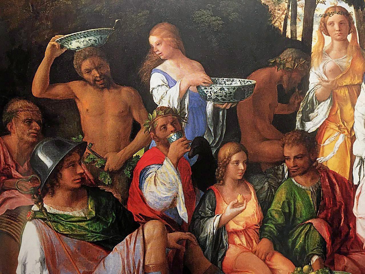 พอร์ซเลนของจีนในภาพวาด The Feast of the Gods ของโจวานนี เบลลินี ศิลปินอิตาลีสมัยศตวรรษที่ 16.