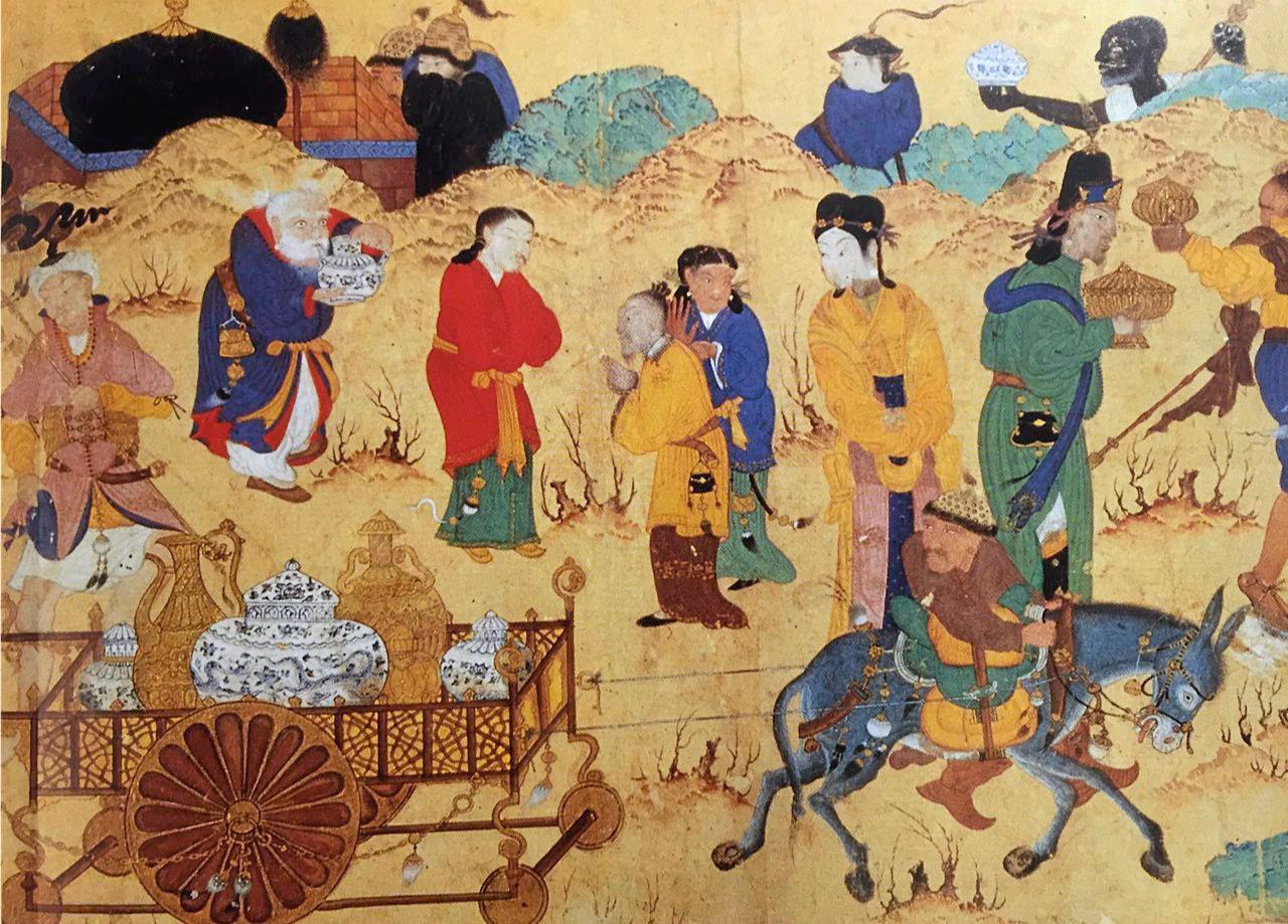 ภาพวาดสมัยศตวรรษที่ 15 แสดงฉากกองคาราวาน ขนพอร์ซเลนไปตามเส้นทางสายไหม.