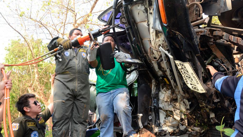 สภาพของรถบรรทุกถั่วในจุดเกิดเหตุ