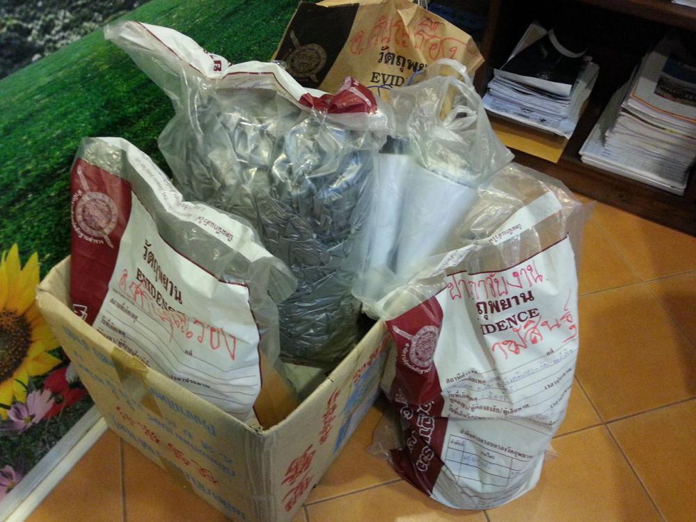 ถุงพลาสติกบรรจุวัตถุพยานในคดีฆ่าพระหมอ