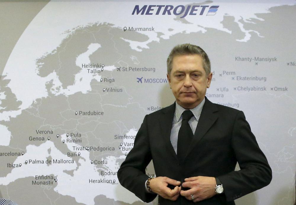 นายอเล็กซานเดอร์ สเมอร์นอฟ รองผู้อำนวยการใหญ่สายการบินเมโทรเจ็ต แถลงข่าวเมื่อ 2พ.ย.58