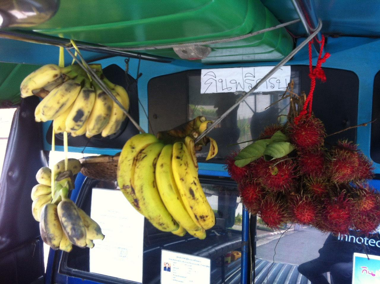 แขวนกล้วย และผลไม้อื่นๆ ให้ผู้โดยสารรับประทานฟรี