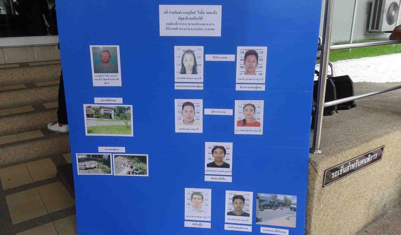 ตำรวจแสดงแผนผังการจ้างวานฆ่าฝรั่ง