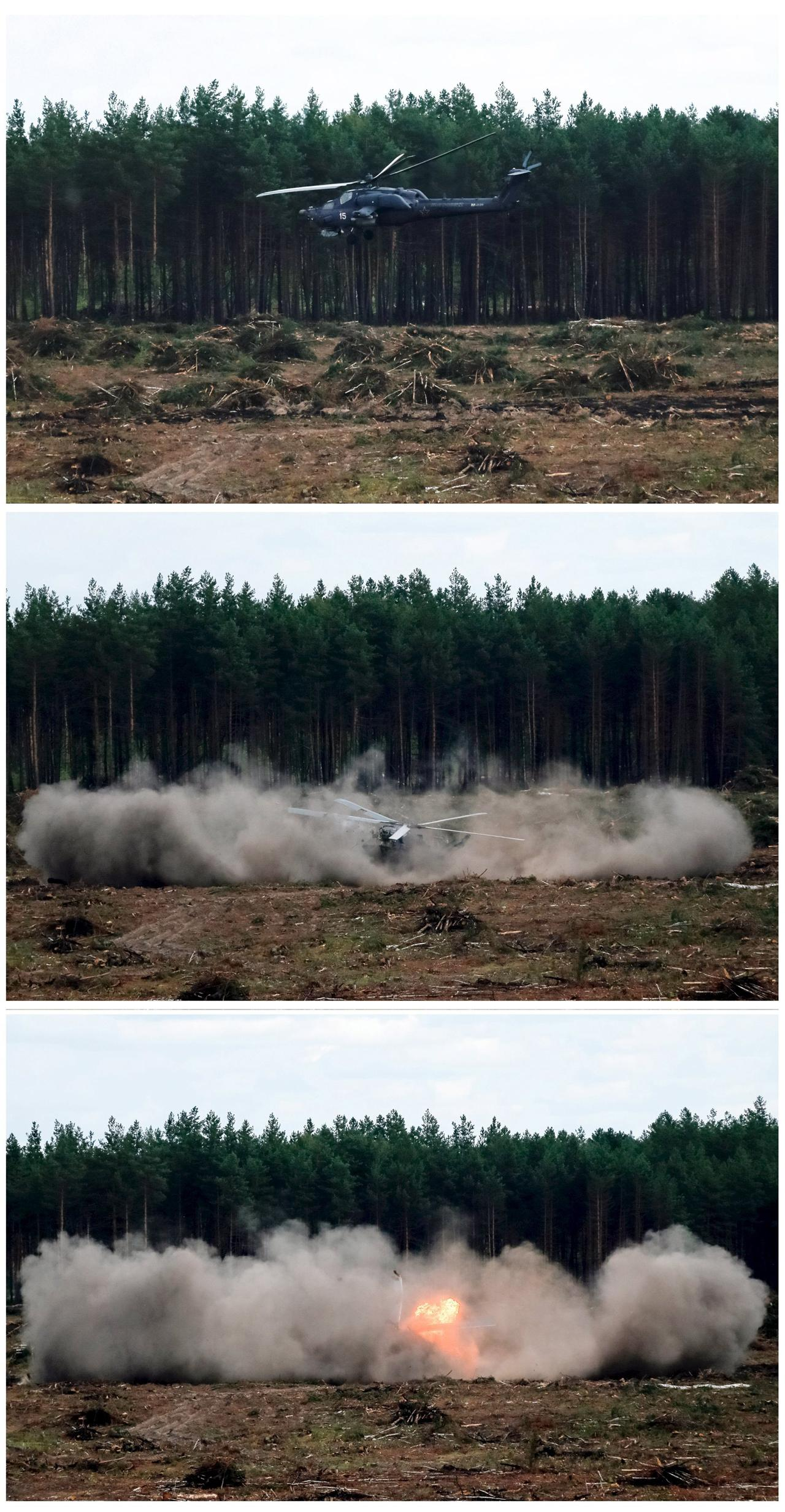 วินาทีระทุกในเมื่อ ฮ.Mi-28 ค่อยๆ หมุนคว้างร่วงกระแทกพื้น