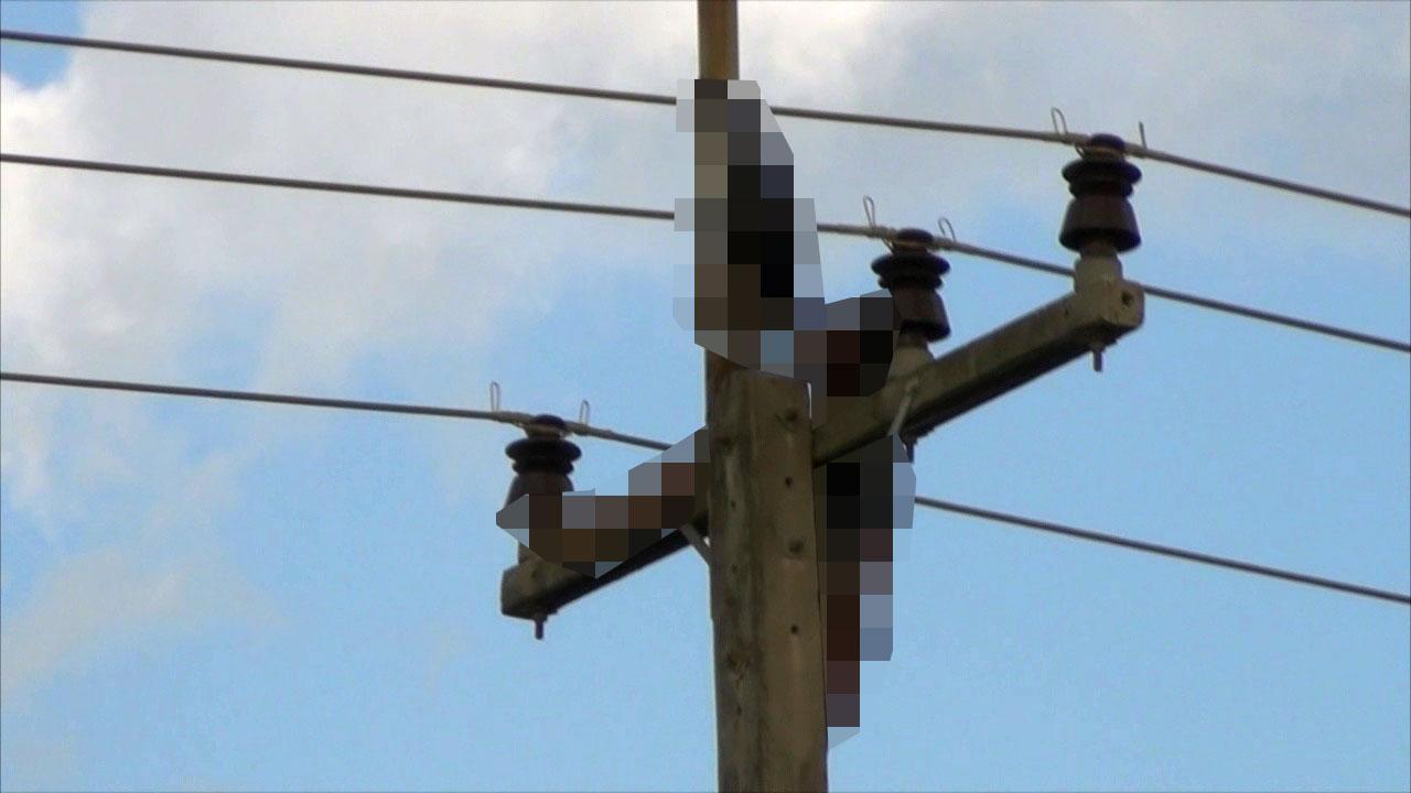ร่างหนุ่มนิรนามค้างอยู่บนเสาไฟฟ้า