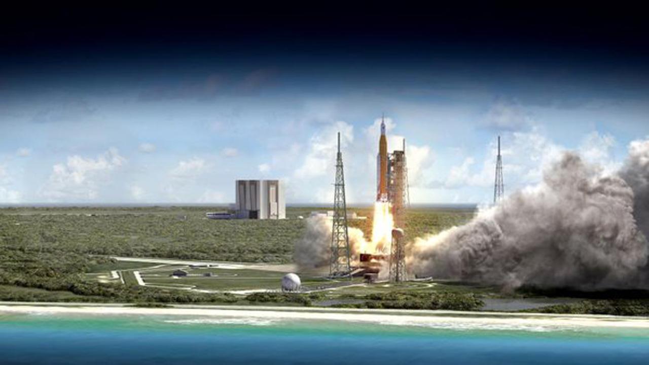ภาพจากนาซา แสดงถึงการปล่อยจรวด SLS พร้อมยานอวกาศโอไรออน