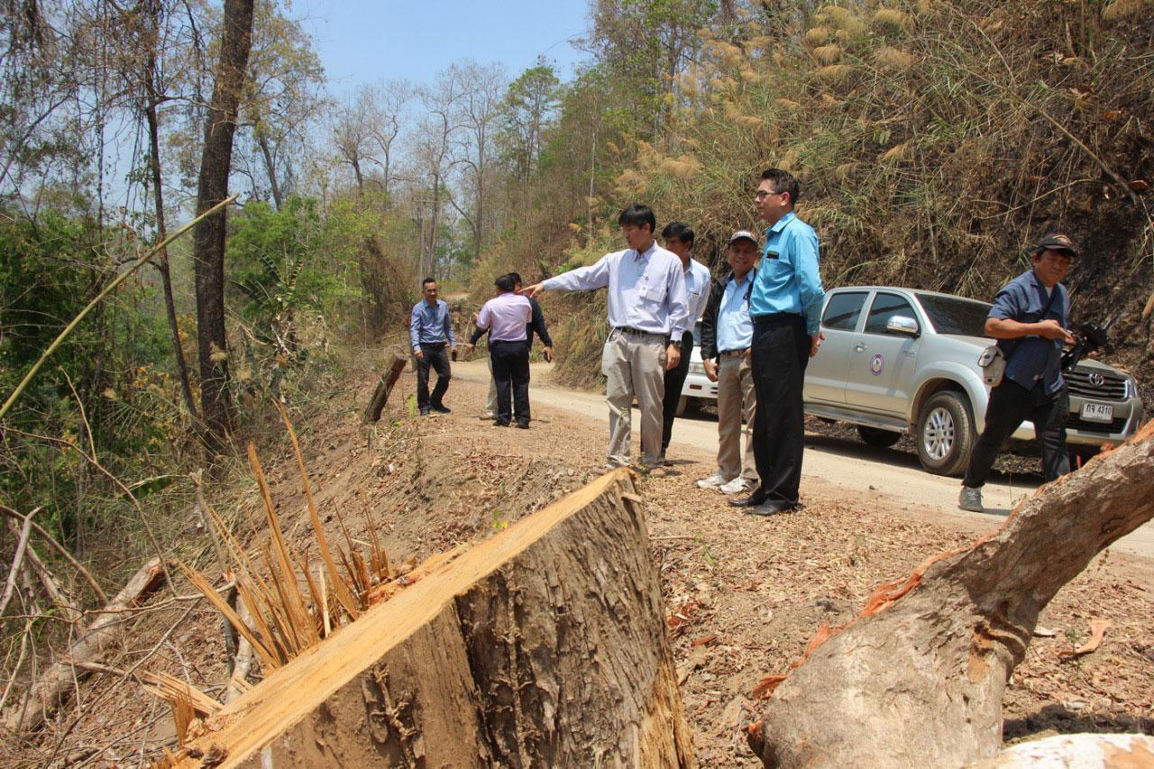 คณะเดินทางตรวจกองไม้ที่หน่วยพิทักษ์อุทยานแห่งชาติแม่เงา และดูพื้นที่การตัดไม้ตามแนวถนนทางไปหมู่บ้านกองอูม บ้านแม่คะ บ้านแม่หลุย ต.แม่สวด อ.สบเมย จ.แม่ฮ่องสอน (2)
