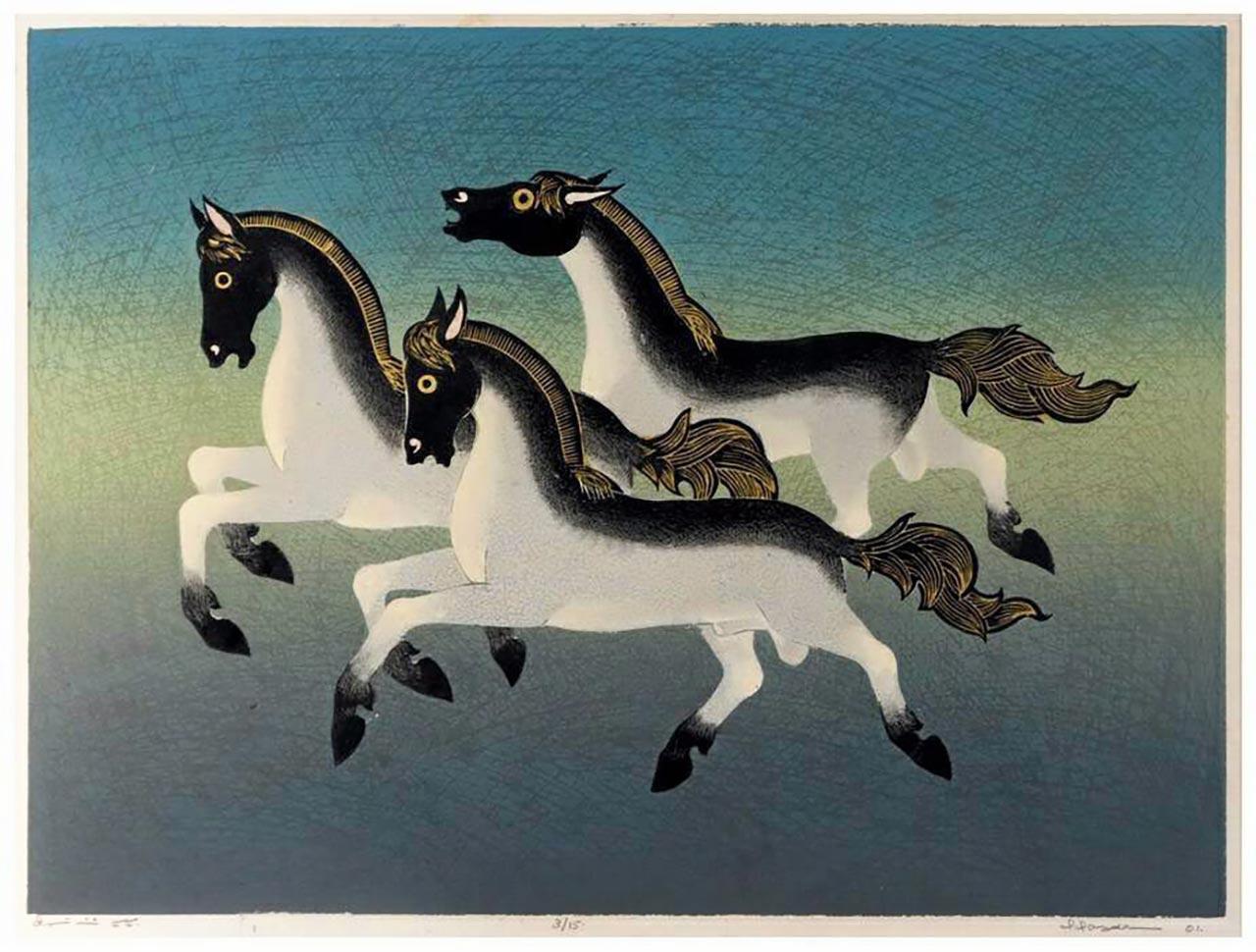 ชื่อภาพ ม้าสามตัว.