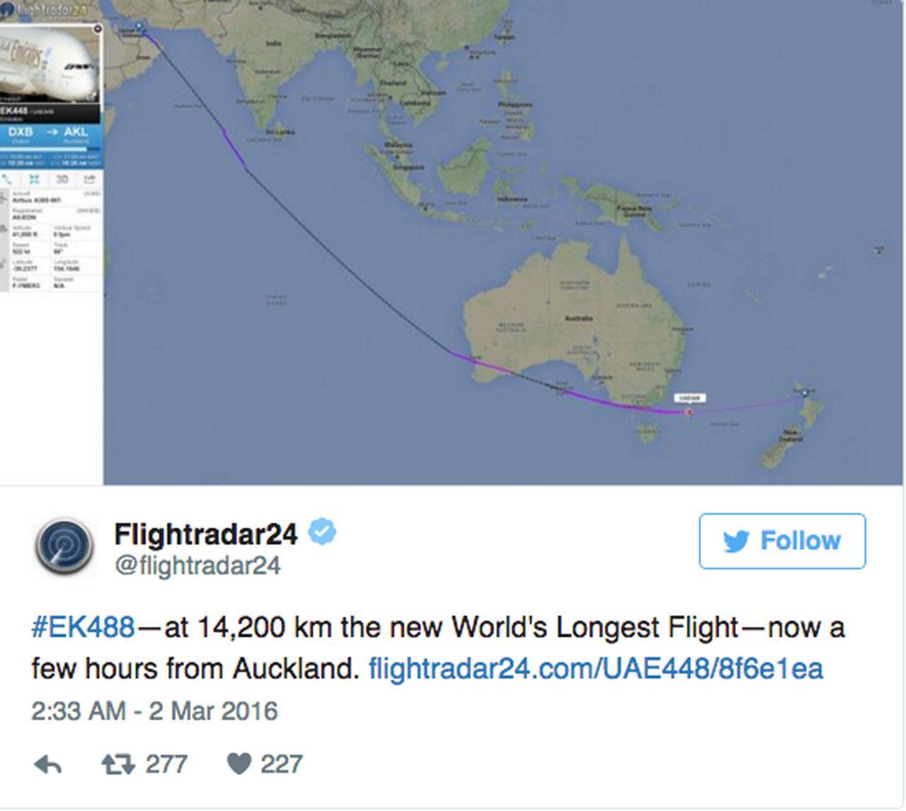 ทวิตเตอร์ของ Flightradar24 แสดงเส้นทางบินระยะทาง 14,200 กม.ดูไบ-โอ๊คแลนด์