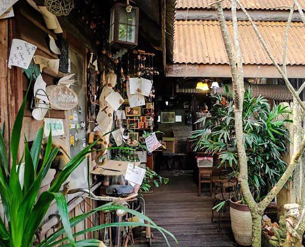 อีกมุมเก๋ของร้านกาแฟกับต้นไม้.