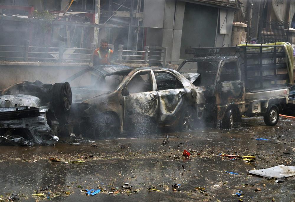 รถยนต์ได้รับความเสียหายจากไฟไหม้ (ภาพ: AP)