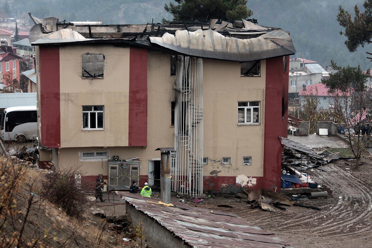 ความเสียหายที่เกิดกับหอพัก หลังเหตุเพลิงไหม้