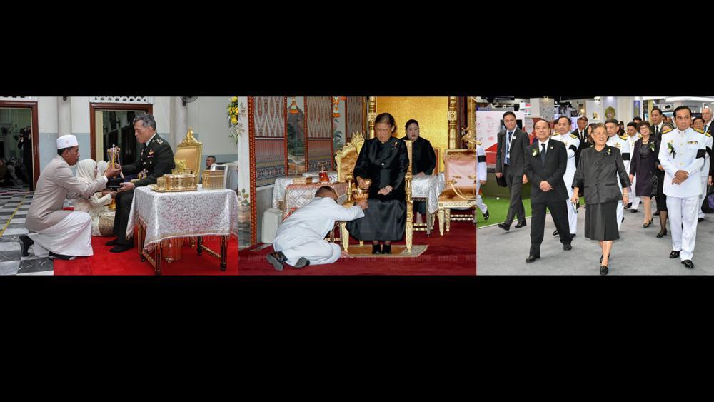 """(ซ้าย)สมเด็จพระบรมโอรสาธิราชฯ สยามมกุฎราชกุมาร เสด็จพระราชดำเนินไปทรงเป็นองค์ประธานในการ พระราชทานถ้วยรางวัลการทดสอบการอัญเชิญพระมหาคัมภีร์อัลกุรอานระดับประเทศ ณ มัสยิดกลางจังหวัดปัตตานี อำเภอเมืองปัตตานี จังหวัดปัตตานี เมื่อวันที่ 14 พฤศจิกายน.(กลาง)สมเด็จพระเทพรัตนราชสุดาฯ สยามบรมราชกุมารี เสด็จฯ ไปทรงบำเพ็ญพระราชกุศลถวายภัตตาหารเช้าแด่พระภิกษุสงฆ์ ในการพระพิธีธรรมสวดพระอภิธรรมพระบรมศพ พระบาทสมเด็จ พระปรมินทรมหาภูมิพลอดุลยเดช ณ พระที่นั่งดุสิตมหาปราสาท เมื่อวันที่ 14 พฤศจิกายน.(ขวา)สมเด็จพระเทพรัตนราชสุดาฯ สยามบรมราชกุมารี เสด็จฯ ไปทรงเปิดงาน """"ITU Telecom World 2016"""" ในการนี้ พล.อ.ประยุทธ์ จันทร์โอชา นายกรัฐมนตรี เฝ้ารับเสด็จ ณ ห้องรอยัล จูบิลี่ บอลรูม อาคารชาเลนเจอร์ อิมแพ็ค เมืองทองธานี เมื่อวันที่ 14 พฤศจิกายน."""