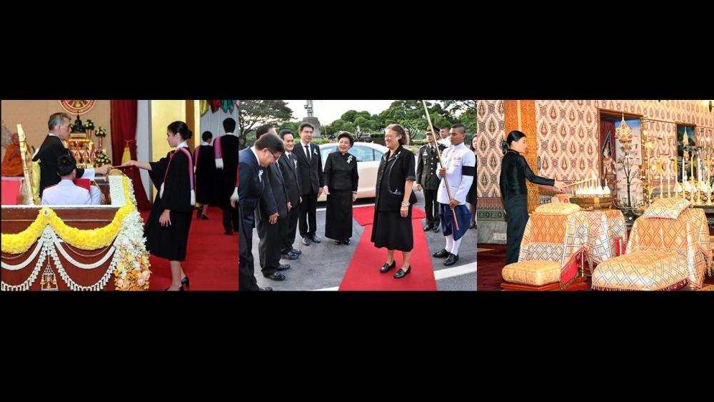 (ซ้าย)สมเด็จพระบรมโอรสาธิราชฯ สยามมกุฎราชกุมาร เสด็จพระราชดำเนินแทนพระองค์ไปพระราชทานปริญญาบัตรแก่ผู้สำเร็จการศึกษาจาก มหาวิทยาลัยธรรมศาสตร์ ประจำปีการศึกษา 2558 ณ หอประชุมมหาวิทยาลัยธรรมศาสตร์ ท่าพระจันทร์ เมื่อวันที่ 13 พฤศจิกายน.(กลาง)สมเด็จพระเทพรัตนราชสุดาฯ สยามบรมราชกุมารี เสด็จพระราชดำเนินไปทรง เปิดการประชุมสามัญประจำปีของสมาคมมหาวิทยาลัยนานาชาติ ครั้งที่ 15 และการฉลองครบรอบที่ระลึก 100 ปี อุดมศึกษาไทย ณ หอประชุมจุฬาลงกรณ์มหาวิทยาลัย เมื่อวันที่ 13 พฤศจิกายน.(ขวา)พระเจ้าหลานเธอ พระองค์เจ้าสิริวัณณวรีนารีรัตน์ เสด็จไปในการบำเพ็ญพระกุศลสวดพระอภิธรรม ถวายพระบรมศพ พระบาทสมเด็จพระปรมินทรมหาภูมิพลอดุลยเดช มหิตลาธิเบศรรามาธิบดี จักรีนฤบดินทร สยามินทราธิราช บรมนาถบพิตร ณ พระที่นั่งดุสิตมหาปราสาท เมื่อวันที่ 13 พฤศจิกายน.