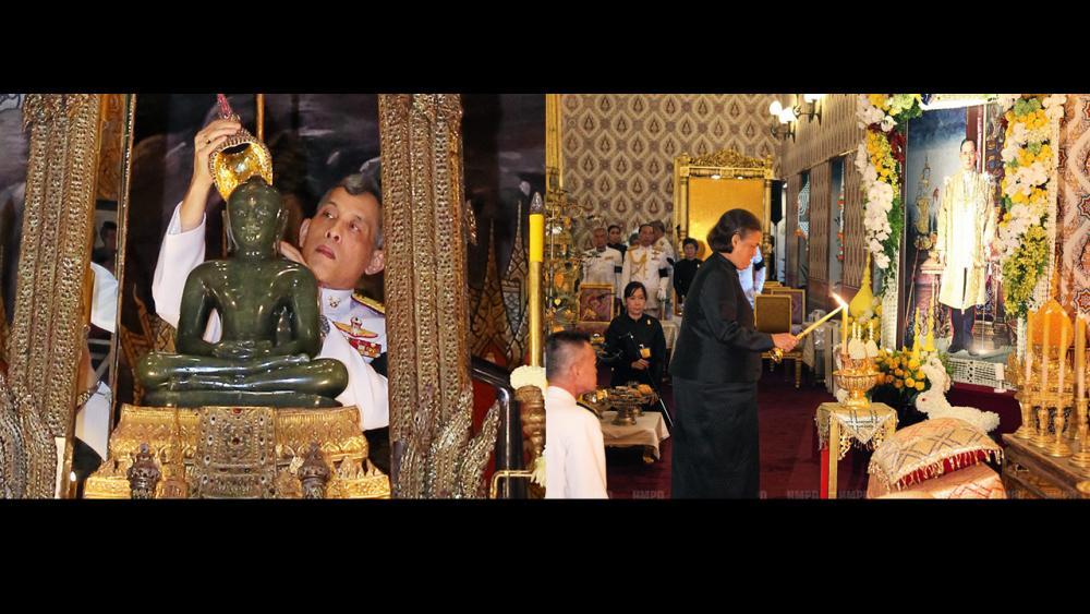 (ซ้าย)สมเด็จพระบรมโอรสาธิราชฯ สยามมกุฎราชกุมาร เสด็จพระราชดำเนินไปในการทรงเปลี่ยนเครื่องทรงฤดูฝน พระพุทธมหามณีรัตนปฏิมากร เพื่อทรงเครื่องสำหรับฤดูหนาว ณ พระอุโบสถ วัดพระศรีรัตนศาสดาราม ในพระบรมมหาราชวัง เมื่อวันที่ 15 พฤศจิกายน.(ขวา)สมเด็จพระเทพรัตนราชสุดาฯ สยามบรมราชกุมารี เสด็จฯไปทรงบำเพ็ญพระราชกุศลถวายภัตตาหารเช้าแด่พระภิกษุสงฆ์ ในการพระพิธีธรรมสวดพระอภิธรรมพระบรมศพ พระบาทสมเด็จ พระปรมินทรมหาภูมิพลอดุลยเดช ณ พระที่นั่งดุสิตมหาปราสาท เมื่อวันที่ 15 พฤศจิกายน.