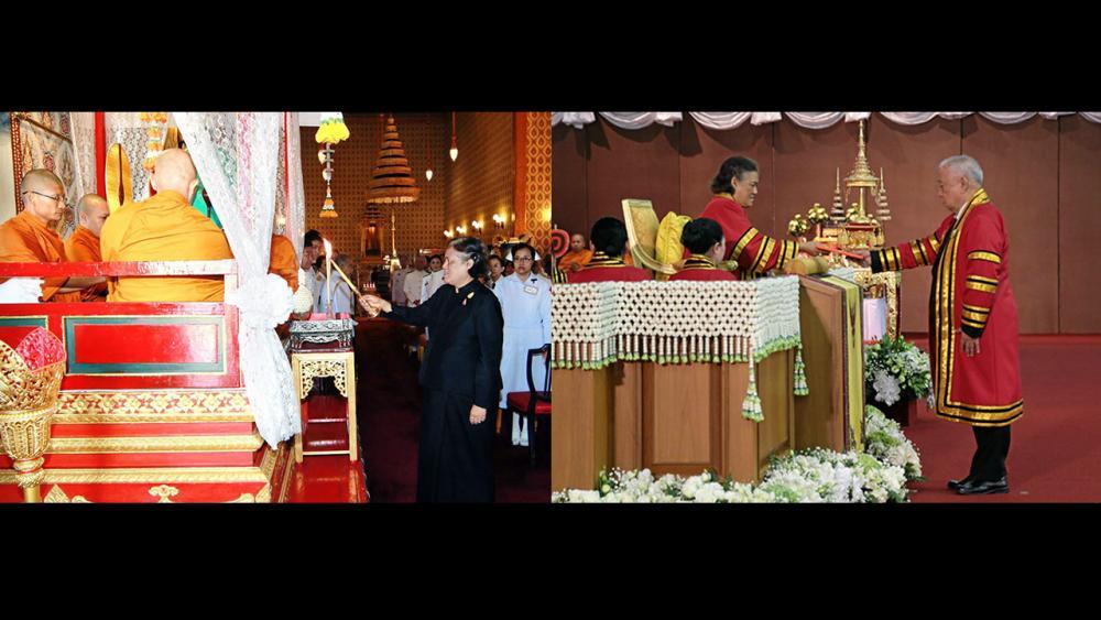 (ซ้าย)สมเด็จพระเทพรัตนราชสุดาฯ สยามบรมราชกุมารี เสด็จฯไปทรงบำเพ็ญพระราชกุศลถวายภัตตาหารเช้าแด่พระภิกษุสงฆ์ ในการพระพิธีธรรมสวดพระอภิธรรมพระบรมศพ พระบาทสมเด็จพระปรมินทรมหาภูมิพลอดุลยเดช ณ พระที่นั่งดุสิตมหาปราสาท เมื่อวันที่ 16 พฤศจิกายน.(ขวา)สมเด็จพระเทพรัตนราชสุดาฯ สยามบรมราชกุมารี เสด็จฯไปในการพระราชทานปริญญาบัตรแก่ผู้สำเร็จการศึกษาจาก สจล. ในการนี้ ณรงค์ ทัศนนิพันธ์ เข้ารับพระราชทานปริญญาวิศวกรรมศาสตรดุษฎีบัณฑิตกิตติมศักดิ์ ณ สถาบันเทคโนโลยีพระจอมเกล้าเจ้าคุณทหาร เมื่อวันที่ 16 พฤศจิกายน.
