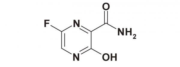 ภาพโครงสร้างโมเลกุลยาฟาวิพิราเวียร์ (Favipiravir) จาก https://www.ncbi.nlm.nih.gov/pmc/articles/PMC5713175/figure/fig01/