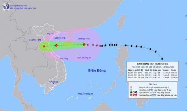 สำนักอุตุนิยมวิทยาเวียดนามเผยภาพเส้นทางการเคลื่อนตัวของพายุโซนร้อน คมปาซุ