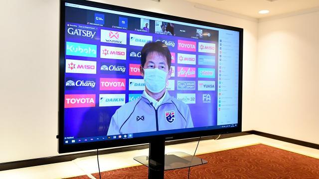 """""""นิชิโนะ"""" แถลงความพร้อมทีมชาติไทย ก่อนอุ่นแข้งโอมาน เตรียมคัดบอลโลกที่ยูเออี"""