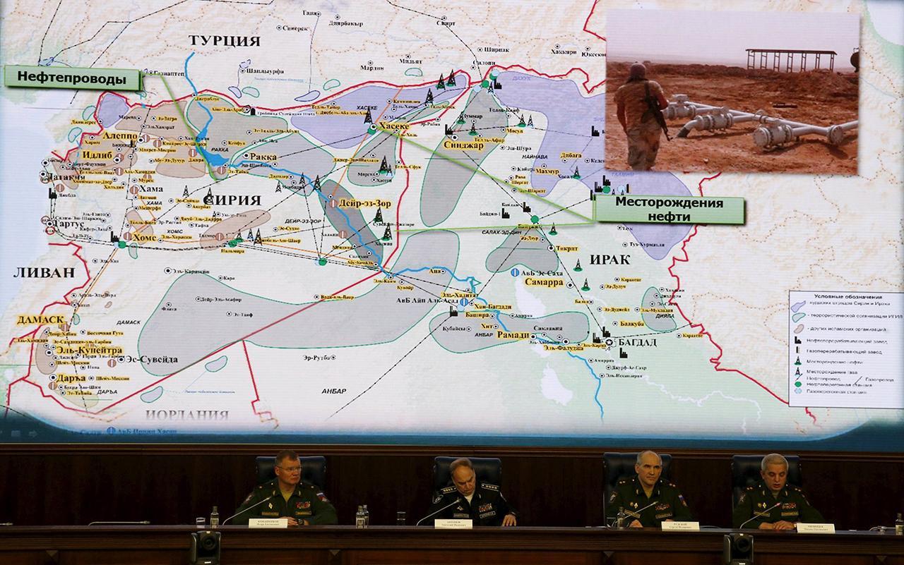 โชว์แผนที่เส้นทางขนส่งน้ำมันเถื่อนจากไอซิส ไปยังตุรกี