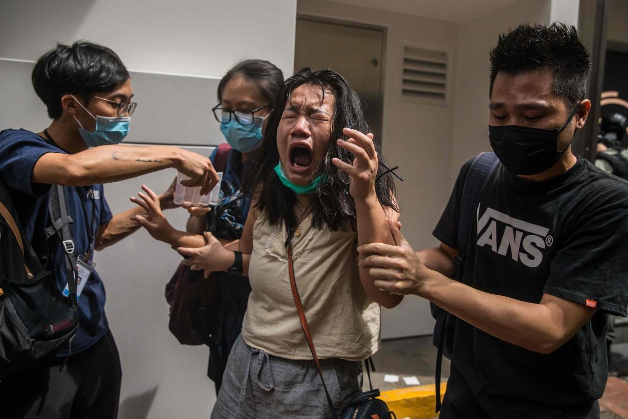 ตำรวจใช้สเปรย์พริกไทยสลายการชุมนุมเมื่อเช้า 1 ก.ค.63