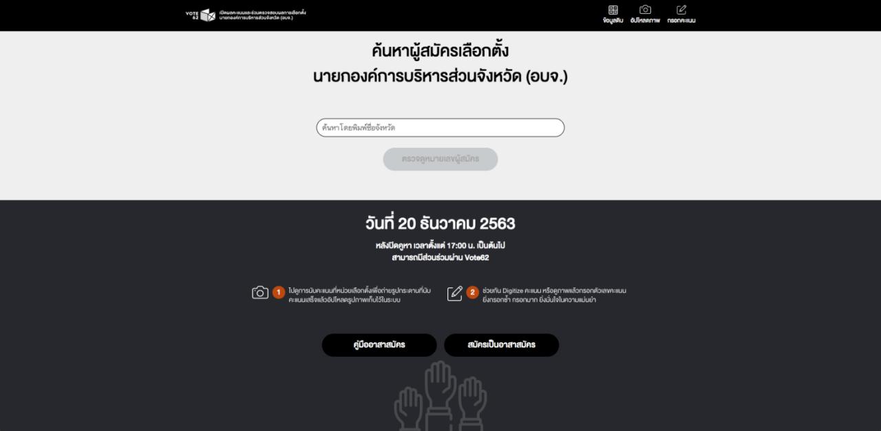 หน้าเว็บไซต์ Vote62