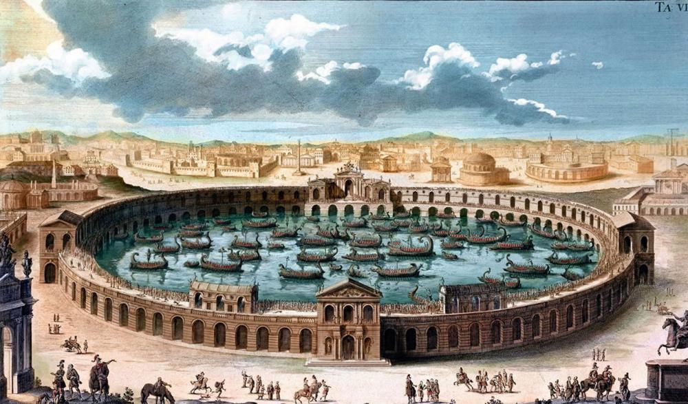 ภาพวาดจากปี ค.ศ.1721 แสดงภาพกองเรือจำนวนมหาศาลในอัฒจันทร์