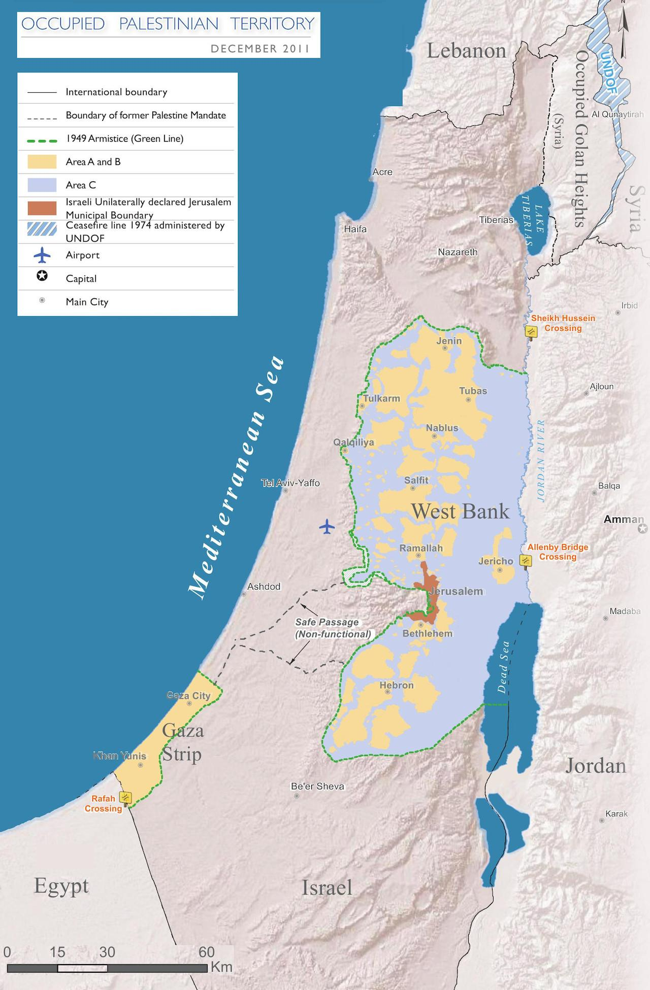 แผนที่ซึ่งแสดงให้เห็น อาณาเขตของอิสราเอล รวมถึงพื้นที่เขตเวสต์แบงก์ และฉนวนกาซา ที่อยู่ในการครอบครองของอิสราเอล