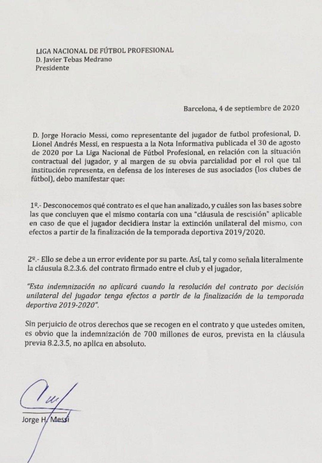 จดหมายของ ฮอร์เก ที่ชี้แจงกับ ลา ลีกา ว่าค่าฉีกสัญญาของ ลิโอเนล เมสซี ไม่มีผลบังคับใช้แล้ว
