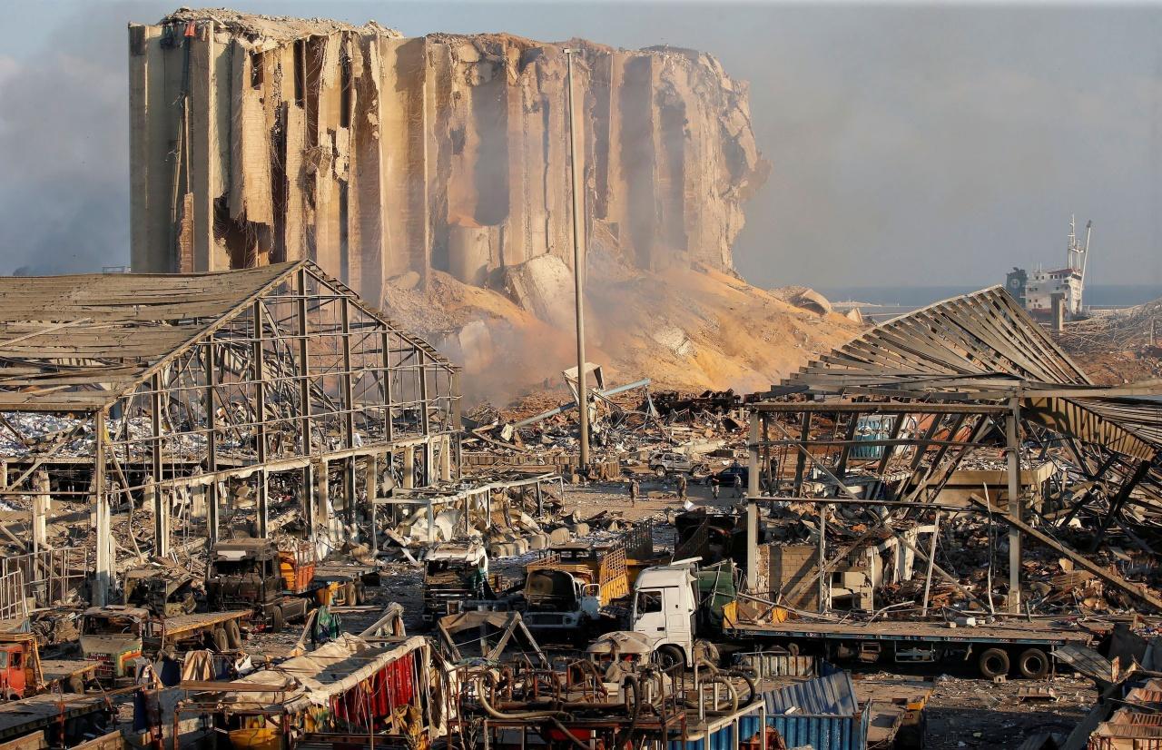 สภาพความเสียหายหลังเกิดเหตุระเบิดร้ายแรงที่กรุงเบรุต จนถือเป็นเหตุระเบิดครั้งใหญ่ที่สุดครั้งหนึ่งของโลก