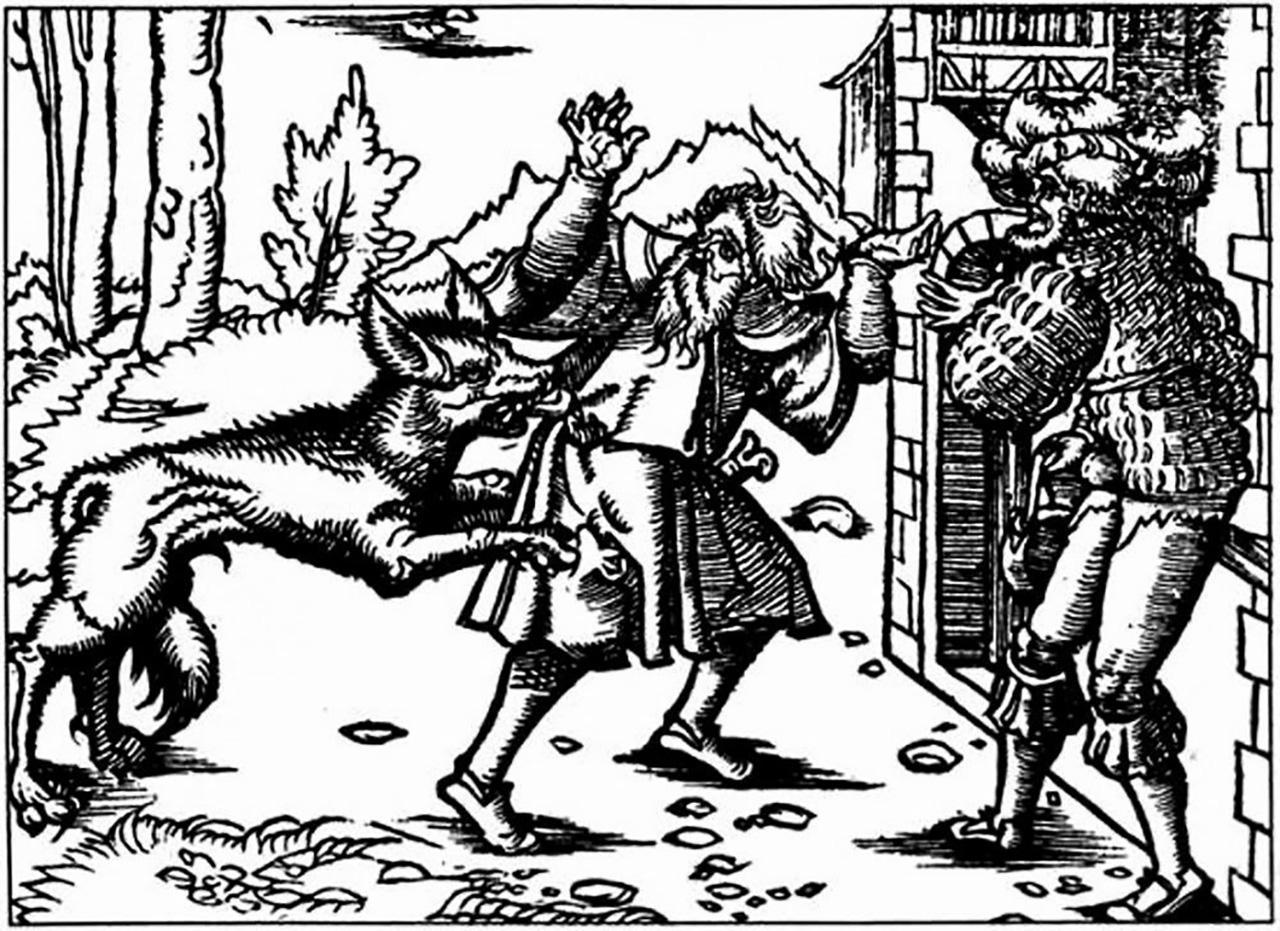ภาพพิมพ์ยุคเก่าแสดงภาพหมาป่าโจมตีมนุษย์.