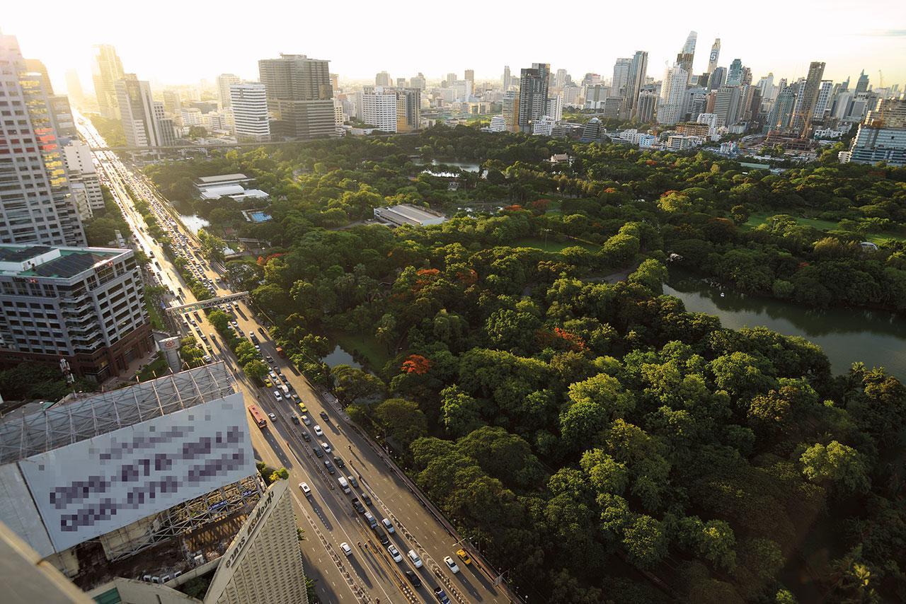 แสงแดดยามเย็นทอดผ่านตึกสูงทำให้สวนลุมพินี ซึ่งเป็นสวนสาธารณะแห่งแรกของประเทศไทยแลดูมีชีวิตชีวา ด้วยกระแสรักสุขภาพและธรรมชาติทำให้แต่ละวันมีผู้มาใช้บริการที่สวนสาธารณะแห่งนี้หลายพันคน