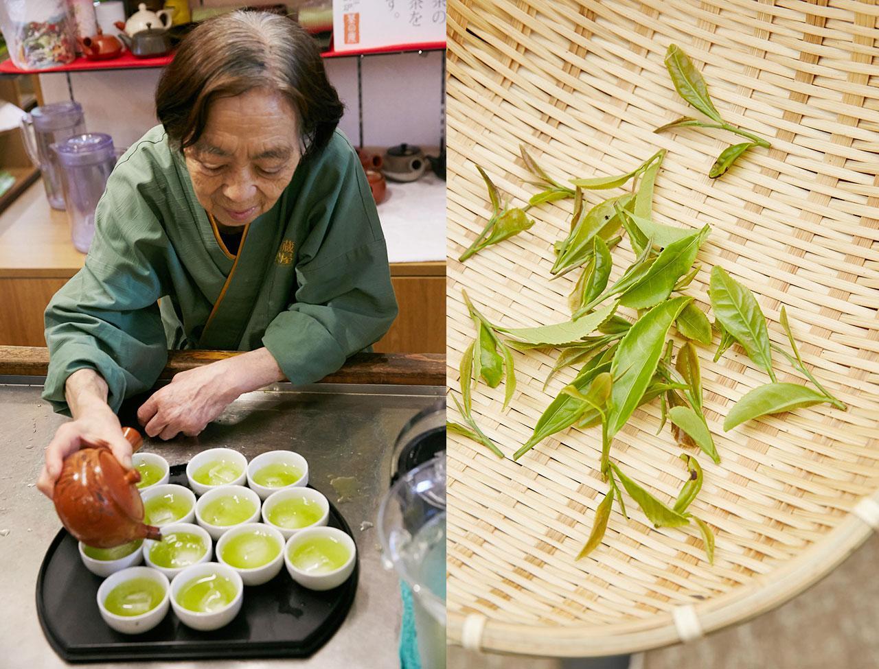 หญิงชราชาวญี่ปุ่น สาธิตวิธีชงชาแบบโบราณ