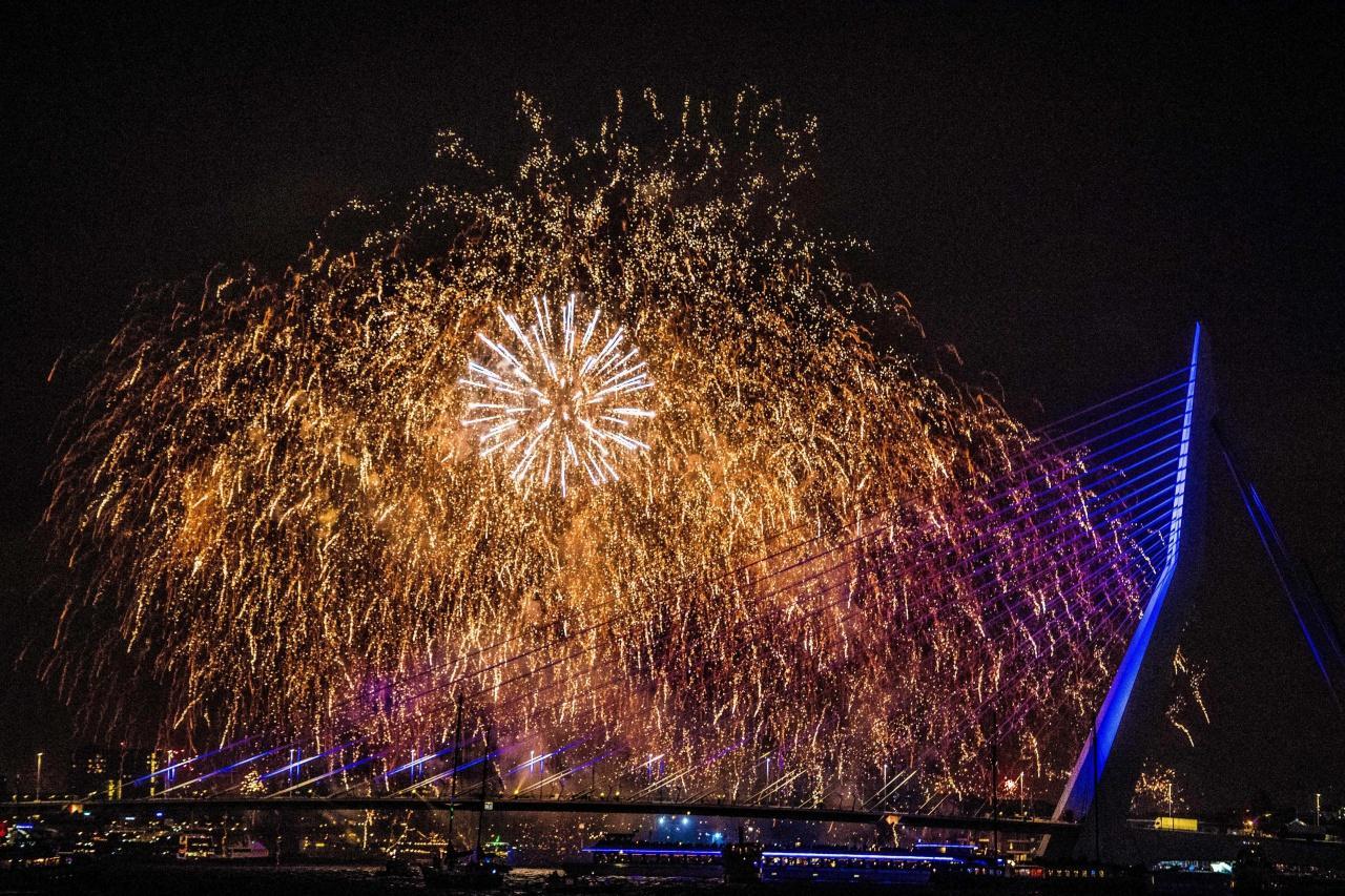 เมืองรอตเทอร์ดาม เนเธอร์แลนด์ จุดพลุฉลองปีใหม่ 2018