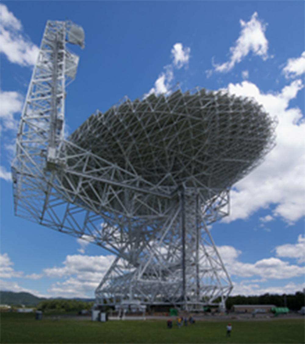 กล้องโทรทรรศน์วิทยุ  'กรีน แบงก์ ที่เวสต์ เวอร์จิเนีย ในสหรัฐฯ