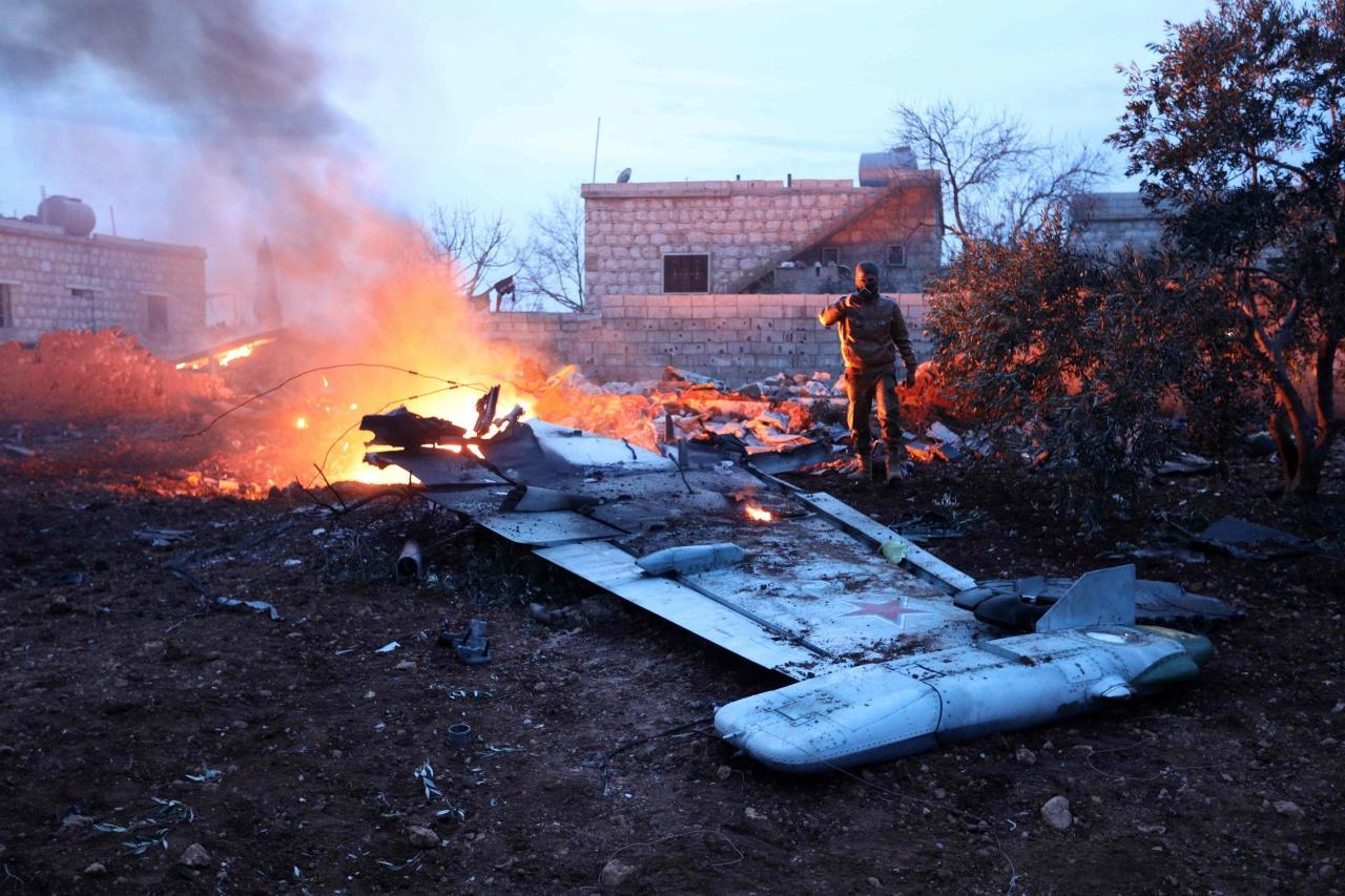 ซากเครื่องบินรบรัสเซียที่ถูกยิงตกในจังหวัดอิดลิบ