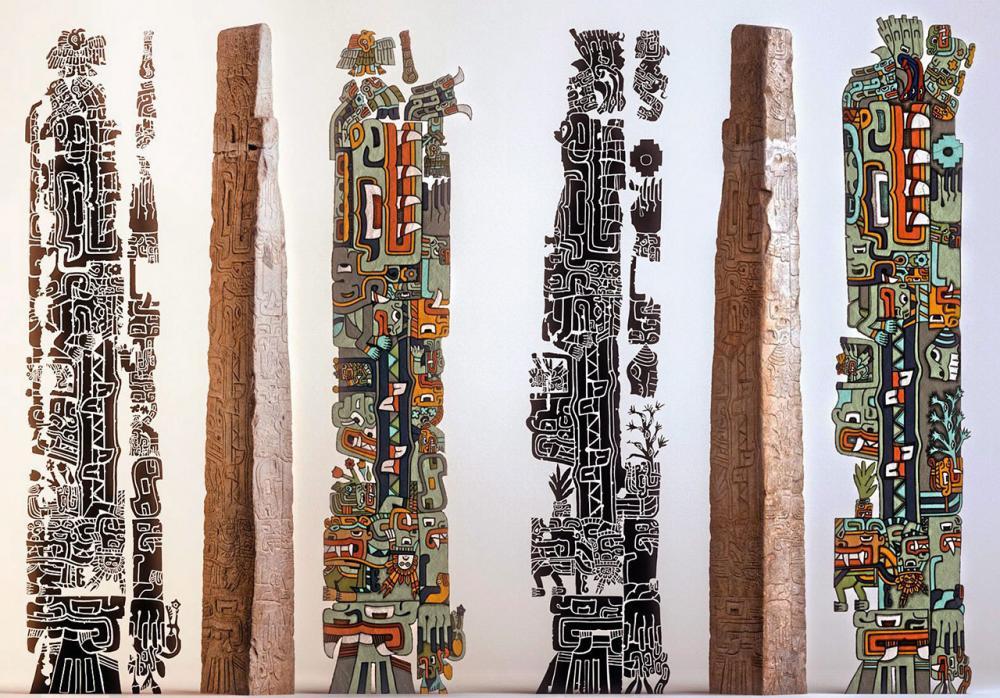 ภาพของจระเข้เคย์แมนเป็นภาพหลักบนเตโยโอ-เบลิสก์อาจสื่อความหมายว่า ต้นกำเนิดของชาวชาวีนมาจากป่าอเมซอน.