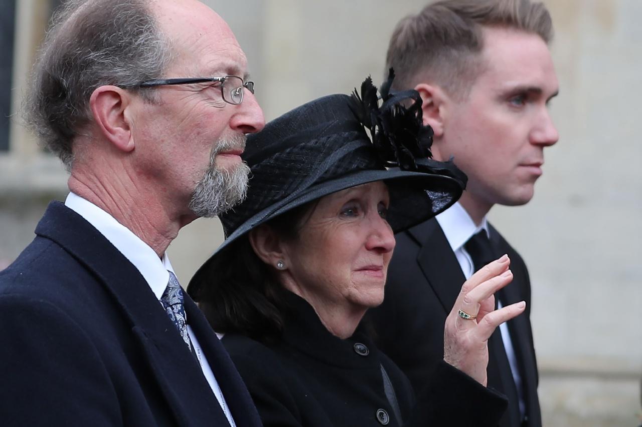 เจน ฮอว์กกิ้ง ภรรยาของแรกของศ. สตีเฟน ฮอว์กกิ้ง มาร่วมพิธีศพด้วย