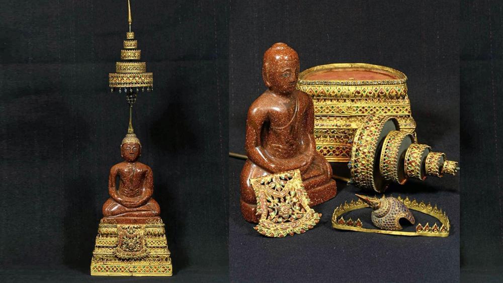 พระพุทธรูปหินทรายทองพุทธศิลป์ สมัยรัตนโกสินทร์ร.3เครื่องทรงฉัตรทอง ลงยาราชาวดีฝังเพชรของโต้งบางแค.