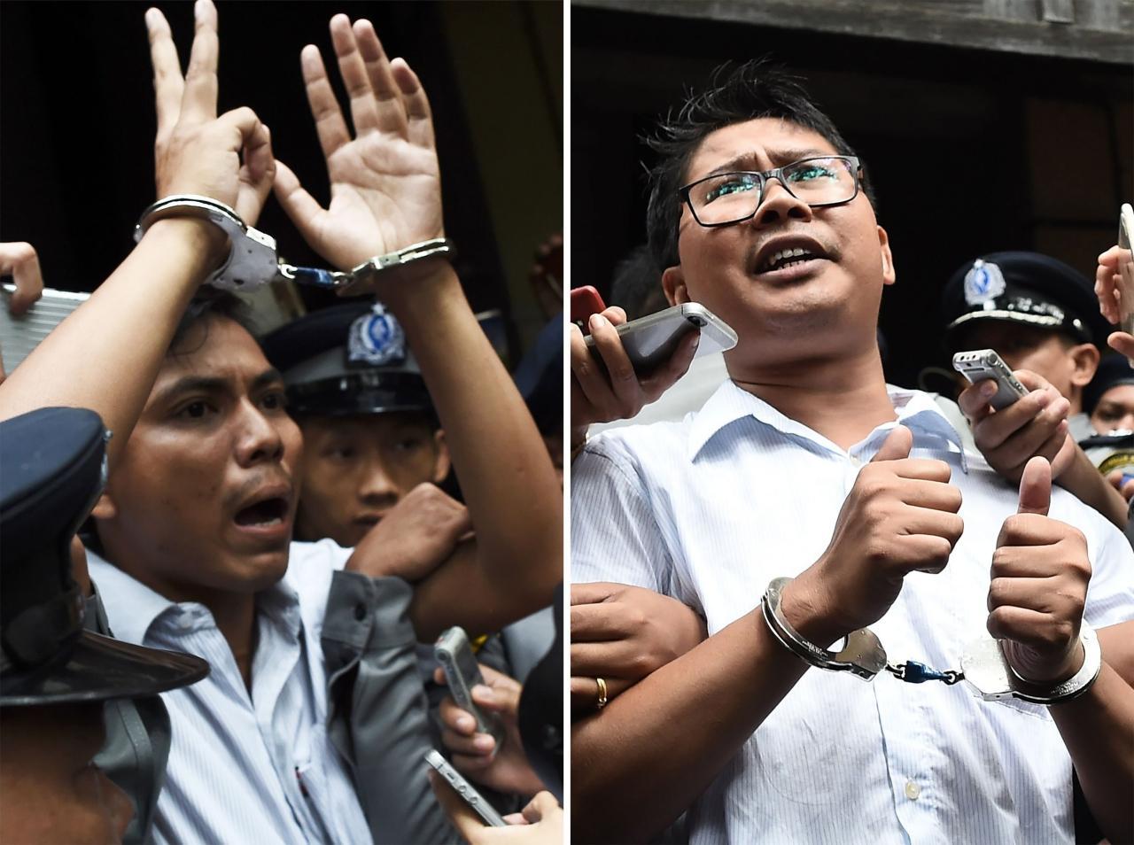 นายจ่อโซ อู (ซ้าย) และวา โลน (ขวา) สองนักข่าวรอยเตอร์ถูกศาลตัดสินจำคุกคนละ 7ปี