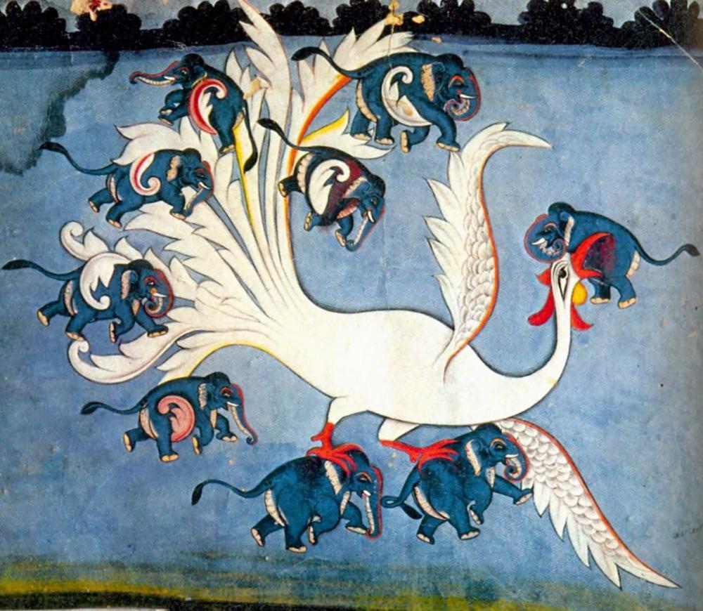 ภาพเขียนนกซิเมิร์กจับช้าง 9 ตัว.