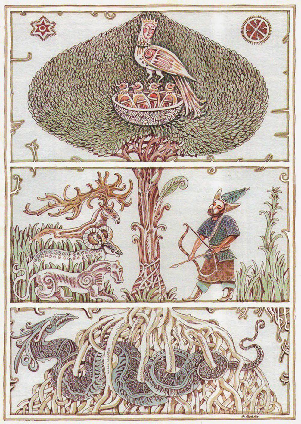 นกซิเมิร์กทำรังบนต้นไม้แห่งชีวิต ช่วงลำต้นคือโลกมนุษย์ ด้านล่างสุดคือใต้พิภพ.